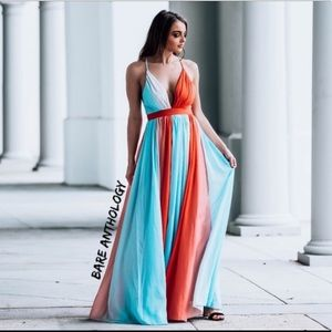 💙❤️ IN STOCK Blue & Orange/Red chiffon Maxi Dress